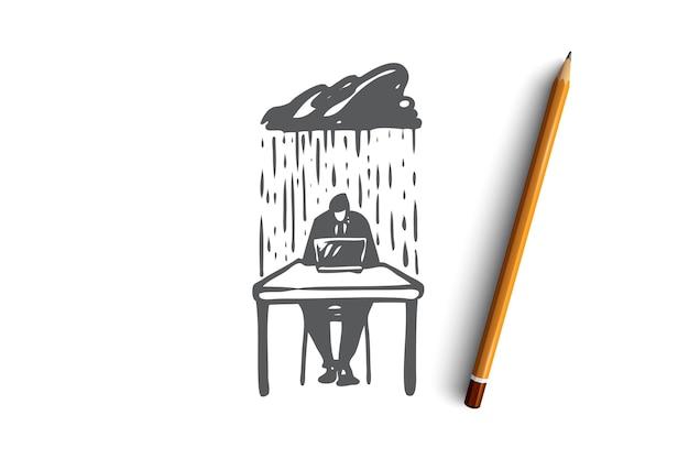 見通し、いいえ、心配、忙しい、ジレンマの概念。問題の雨の下で手描きの実業家の概念スケッチ。図。