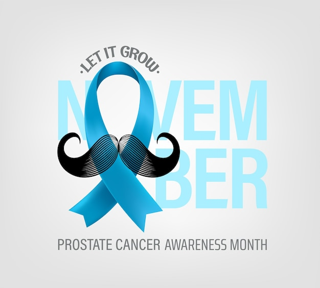 Prostate cancer awareness month concept with light blue silk ribbon and moustache