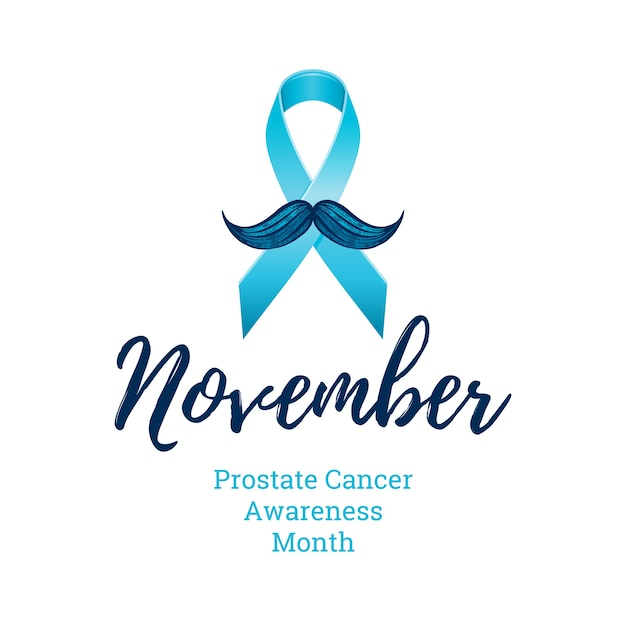 Prostate cancer awareness ribbon with moustaches. men health symbol. men cancer prevention in november month. engraved, 3d cartoon illustration isolated on white background