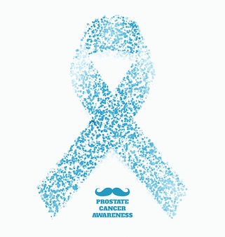 Prostate cancer ribbon awareness month - november - light blue ribbon made of dots