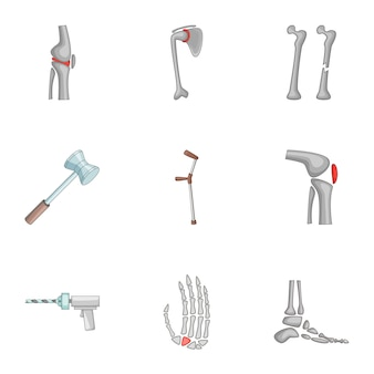 Prosthetics icons set, cartoon style