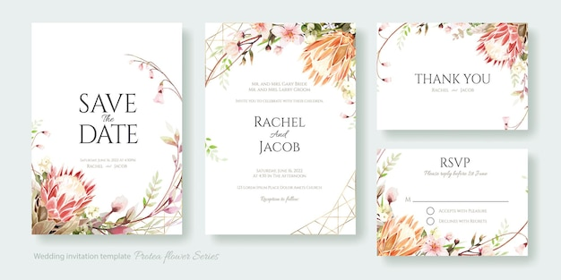 Protea 꽃 결혼식 초대 카드, 날짜 저장, 감사합니다, rsvp 템플릿.