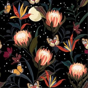 Protea flowers garden seamless pattern