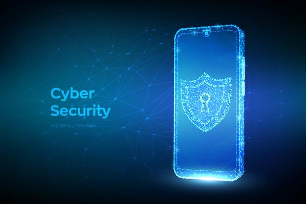 Защита и кибербезопасность безопасной концепции. абстрактный низким полигональных смартфон и щит с иконой замочной скважины.