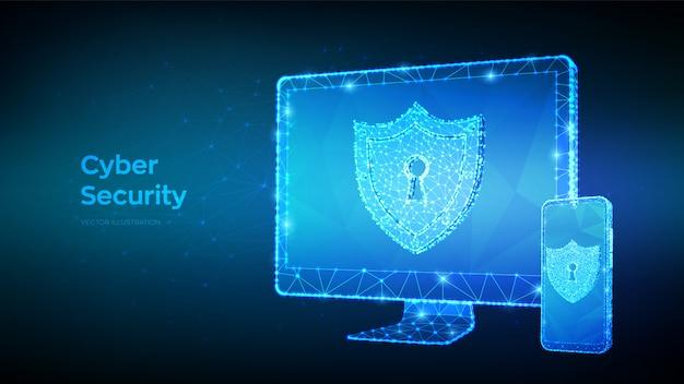 Защита и кибербезопасность или безопасная концепция. абстрактный низким полигональных компьютерный монитор и смартфон и щит с замочной скважины.