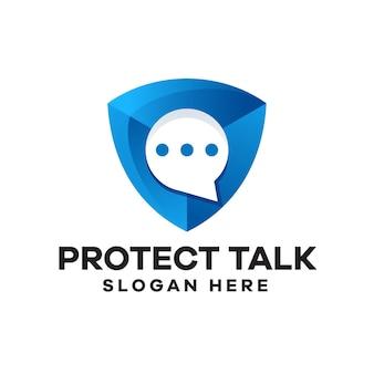 Protect chat gradient logo design