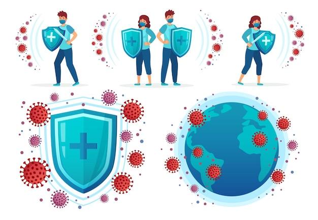 コロナウイルスから保護します。人々はcovid-19、ヘルスシールド対ウイルスおよびコロナウイルスと世界中の世界のイラストセットと戦います。