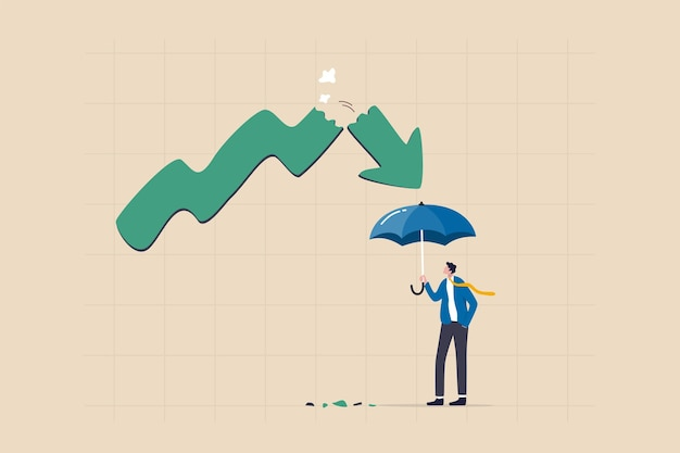 주식 시장 붕괴로부터 보호, 위험이나 불확실성을 보호하기 위한 보험, 안전 개념의 투자 마진, 침체 화살표 그래프에 대한 강력한 우산을 들고 있는 사업가 투자자.