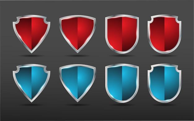 4 가지 모양, 빨강 및 파랑 색상의 가드 쉴드 디자인 보호 프리미엄 벡터