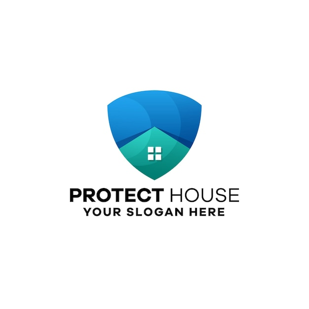 Protect house gradient logo template