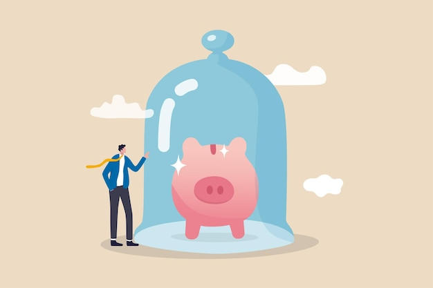 Protect money from inflation insurance and financial security concept