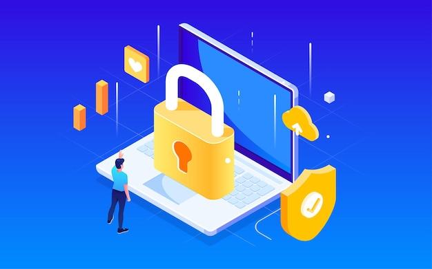Защита технологий сетевой безопасности иллюстрация технологии электронной коммерции финансовый плакат