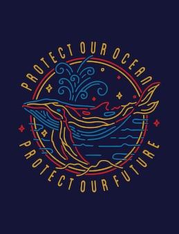 Защитите океанский кит дизайн плаката монолинии