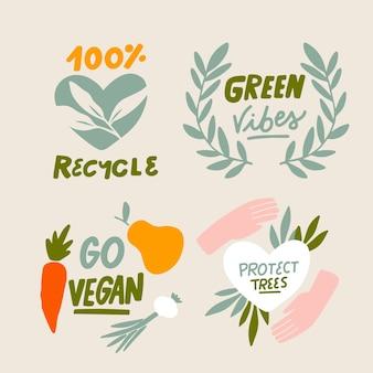 Proteggere gli alberi ecologia badge disegnati a mano