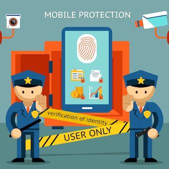 Proteggi il tuo cellulare, impronta digitale, solo al proprietario. sicurezza finanziaria e riservatezza dei dati