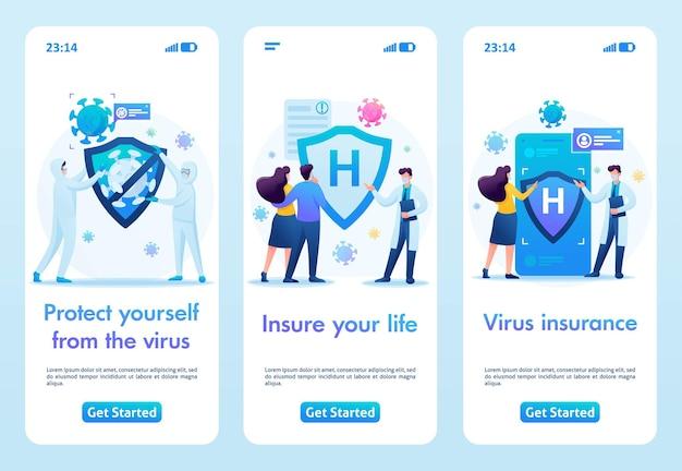ウイルス、健康保険から身を守りましょう。フラット2d。ベクトルイラストモバイルアプリ。