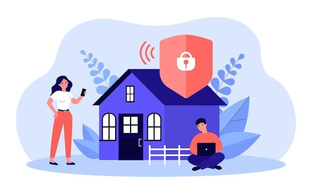 Защищенный доступ к сети wi-fi плоской векторной иллюстрации. мужчина и женщина на фоне дома, используя гаджеты и интернет, подключаясь к домашней сети. безопасность, интернет, концепция подключения к интернету