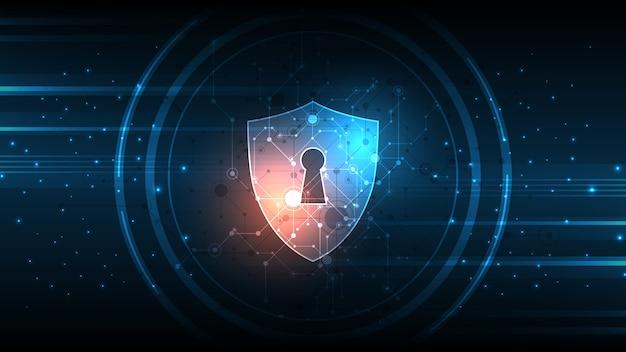Защищенный охранник щит концепция безопасности безопасность кибер цифровой абстрактный фон технологии