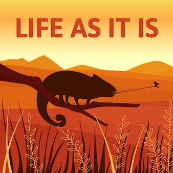 Мокап сообщения в социальных сетях о защите дикой природы африки. жизнь как бы фраза. шаблон дизайна веб-баннера. бустер хамелеон, макет контента с надписью. плакат, печатная реклама и плоская иллюстрация
