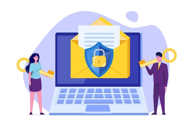 Protecting computer data, email encryption concept.