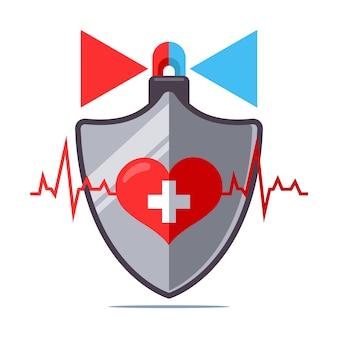 心臓病から人間の健康を守ります。人間の保険。フラットの図。