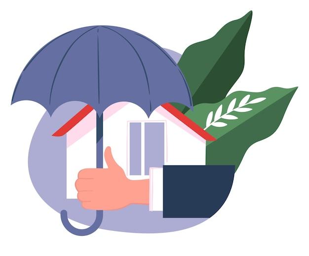 Защита и покрытие расходов при повреждении недвижимости. этикетка или логотип страховой компании. безопасность и гарантия сохранности. дом и зонтик, щит и помощь, вектор в плоском стиле