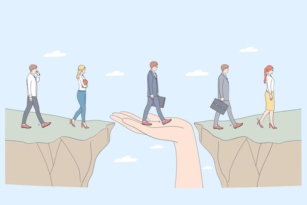 保護とパートナーシップの概念。ビジネスマンが助けとしてサポートする一方の側からもう一方の側にステップするのを助ける人間の手