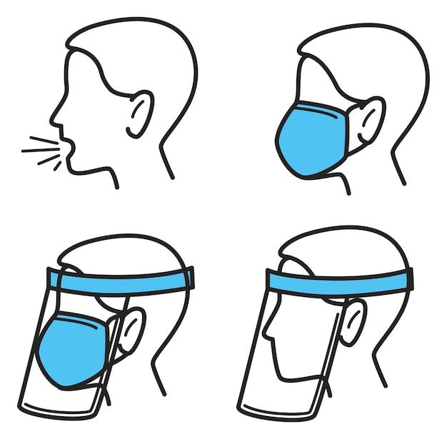 Меры защиты и профилактики от коронавируса и респираторных заболеваний. кашель и средства, предотвращающие распространение болезни. ношение маски и стеклянного или пластикового щита. вектор в плоском стиле
