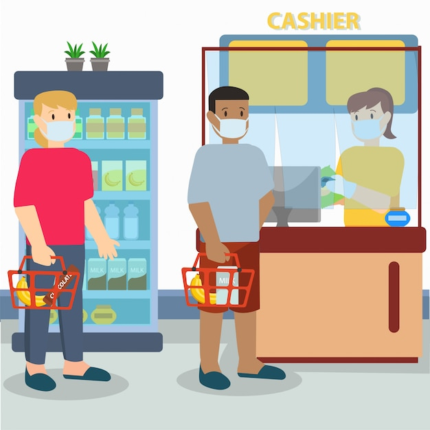 Protection on cashier while pancemic illustration