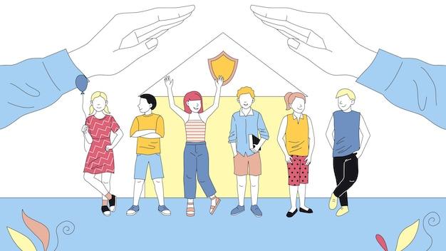플랫 스타일의 보호 어린이와 어린 시절 개념 그림. 개요와 만화 벡터 구성입니다. 6 명의 남성과 여성의 어린이 캐릭터 서, 그들을 덮는 큰 손, 건물 뒤에.