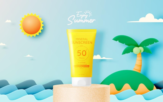 Protection cosmetic products design,sunscreen and sunbath cosmetic products design face and body