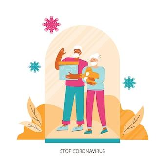 コロナウイルスからの保護。医療マスクの老夫婦がガラス帽の下に立っています。パンデミック時の社会的安全距離とウイルスに対する個人的保護。コロナウイルスの概念を停止します。