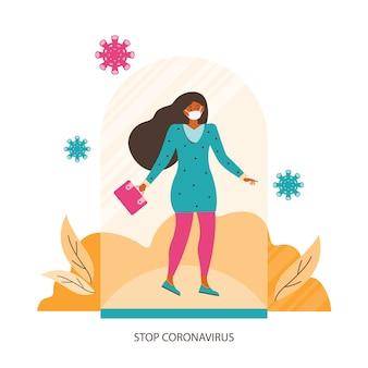 Защита от коронавируса. женщина в медицинской маске стоит под стеклянной крышкой. социальная безопасная дистанция и личная защита от вирусов во время пандемии. стоп коронавирус. концепция иллюстрации