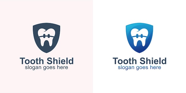 Protection of healthy teeth with braces and shield symbol for dental care or dentists logo design