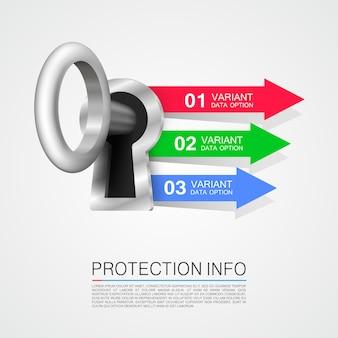 Защита информации искусства ключевой баннер. векторная иллюстрация
