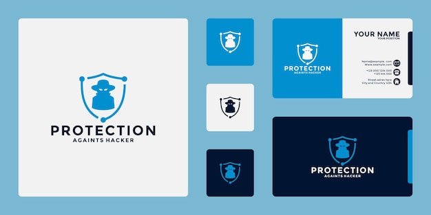 Protection logo design for business protect from social media crime