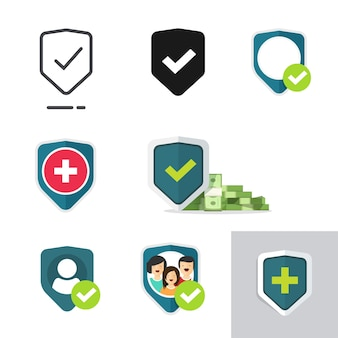 Protection medical health care shield icons set of family or financial insurance