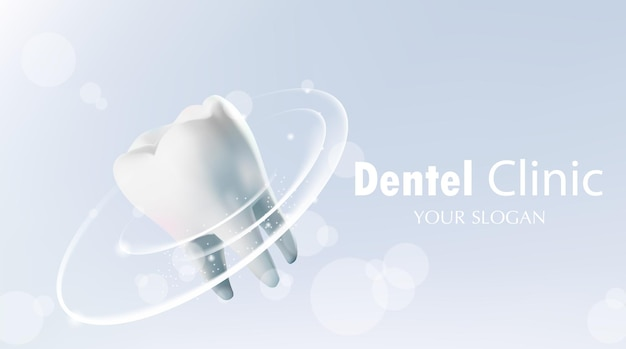 輝く効果のイラストベクトルで健康な歯の歯の保護