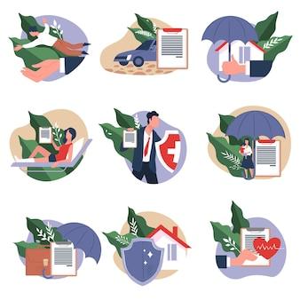 Защита недвижимости, здоровья и имущества. страховое агентство или компания, покрывающая расходы и ущерб, документ или договор с соглашением. дом и здравоохранение, вектор финансовой помощи в квартире