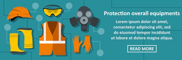 Protection overall equipments banner horizontal concept
