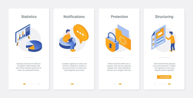 Protection of personal data technology ux, ui onboarding mobile app page screen set