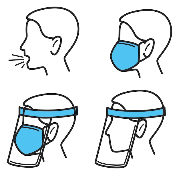 Protection and preventive measures against coronavirus and respiratory diseases. coughing and means of stop spreading sickness. wearing mask and glass or plastic shield. vector in flat style