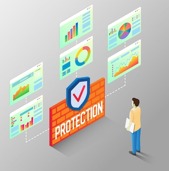 Protection reports vector isometric flow chart