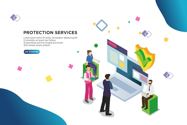 Protection services isometric vector illustration concept