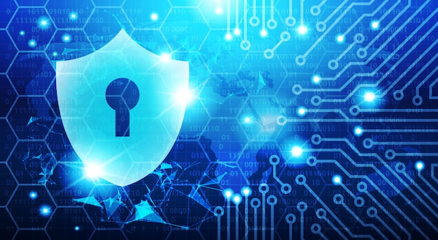 Protection shield blue polygons over circuit background
