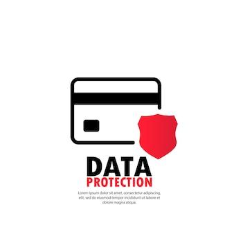 保護シールドクレジットカード。防衛セーフガード財政アイコン。セキュリティプラスチックカードソフトウェア。孤立した白い背景の上のベクトル。 eps10。