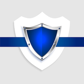 Protection shield empty blue symbol