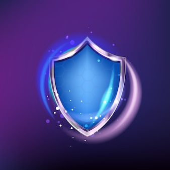 Protection shield icon isolated on blue shine   background. realistic armor and honeycombs