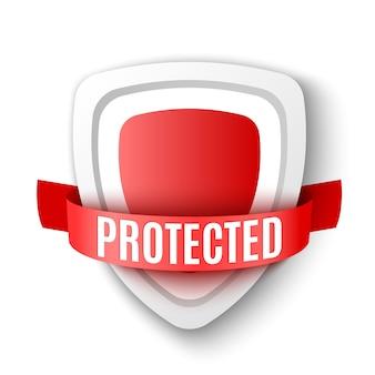 보호막. 빨간색 안전 기호. 바이러스 백신 아이콘. 삽화.