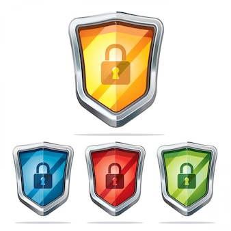 Protection shield security icons.